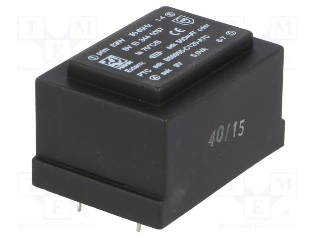 Transformer: encapsulated; 5VA; 230VAC; 9V; 556mA; Mounting: PCB | Teval Elektroonika