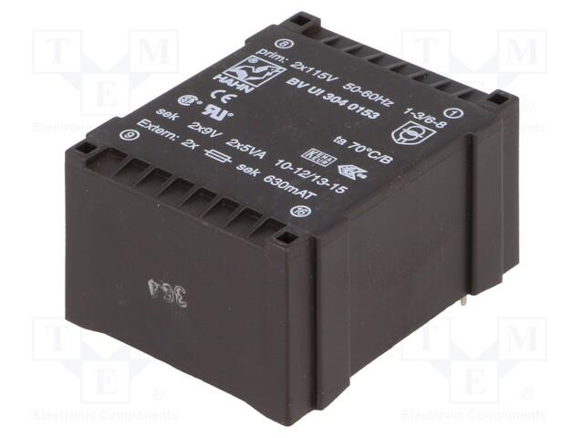 Transformer: encapsulated; 10VA; 115/115VAC; 9V; 9V; 555mA; 555mA | Teval Elektroonika