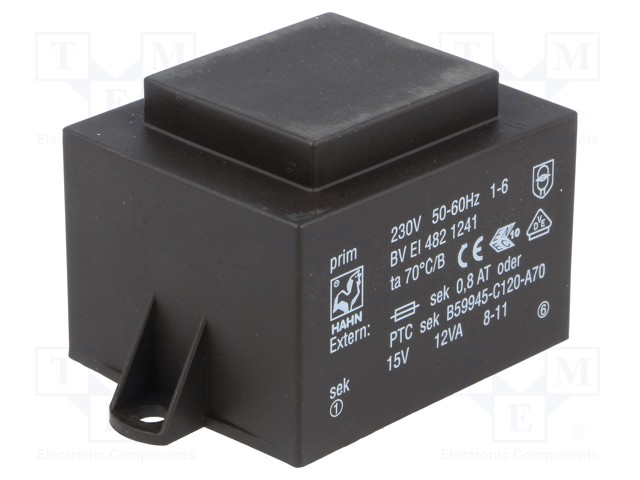 Transformer: encapsulated; 12VA; 230VAC; 15V; 800mA; Mounting: PCB | Teval Elektroonika