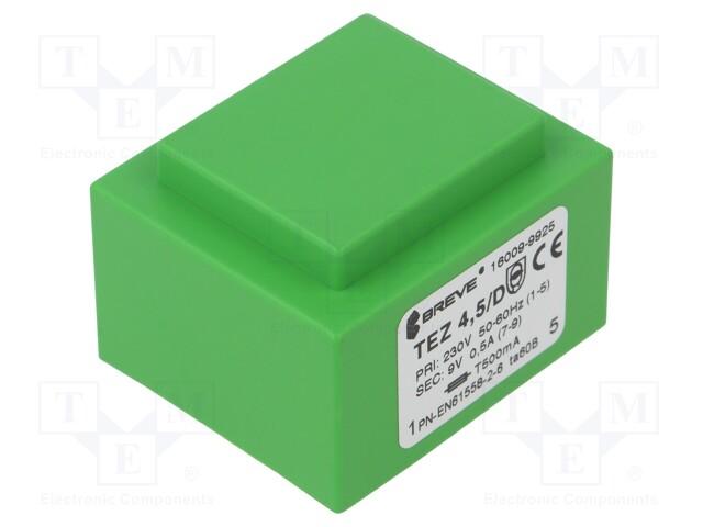 Transformer: encapsulated; 4.5VA; 230VAC; 9V; 500mA; Mounting: PCB | Teval Elektroonika