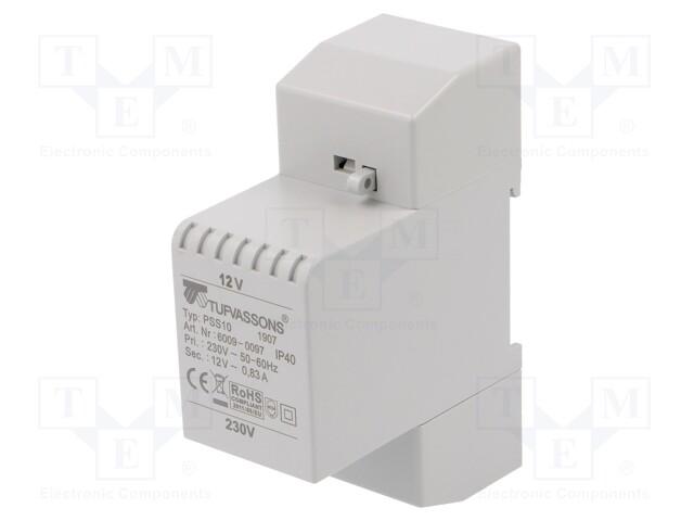 Transformer: mains; 10VA; 230VAC; 12V; Leads: terminal block; IP30 | Teval Elektroonika